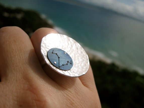 Pisces Zodiac Constellation Titanium and Silver Full Moon Ring - Star Map Design