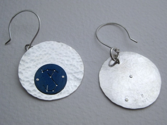 Scorpio Constellation Hammered Disc Earrings