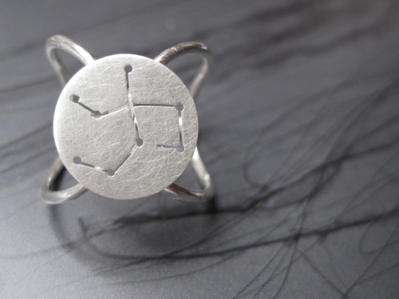 Virgo  Zodiac Constellation Orb Band Ring