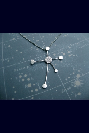 Southern Cross Constellation Necklace Ray Trails Motif Sterling Silver Ball Chai