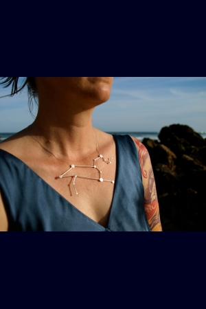 Leo Zodiac Constellation Sterling Silver Necklace on Rubber Cord